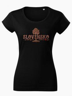 Dámske tričko Slovenské korene čierne - Slovak Spirit