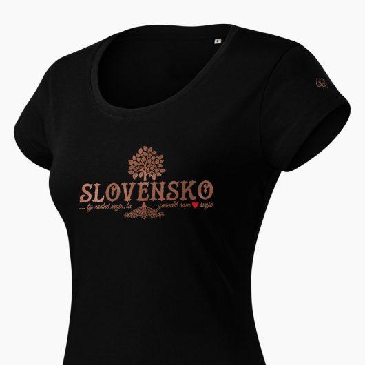 Dámske tričko Slovenské korene čierne detail - Slovak Spirit