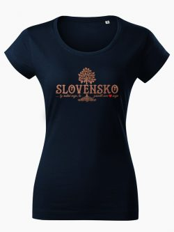 Dámske tričko Slovenské korene tmavo modré - Slovak Spirit