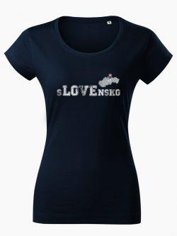 Dámske tričko sLOVEnsko tmavo modré - Slovak Spirit