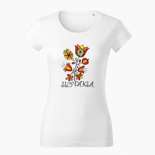 Dámske tričko Slovakia Kvet biele - Slovak Spirit