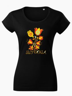 Dámske tričko Slovakia Kvet čierne - Slovak Spirit
