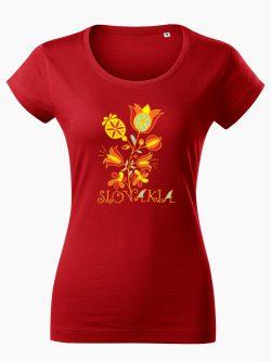 Dámske tričko Slovakia Kvet červené - Slovak Spirit