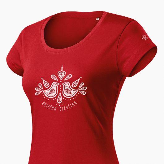 Dámske tričko Driečna dievčina červené detail - Slovak spirit