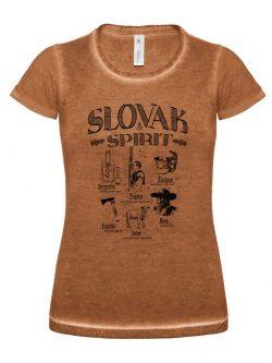 Dámske tričko Slovak spirit hnedé - Slovak Spirit