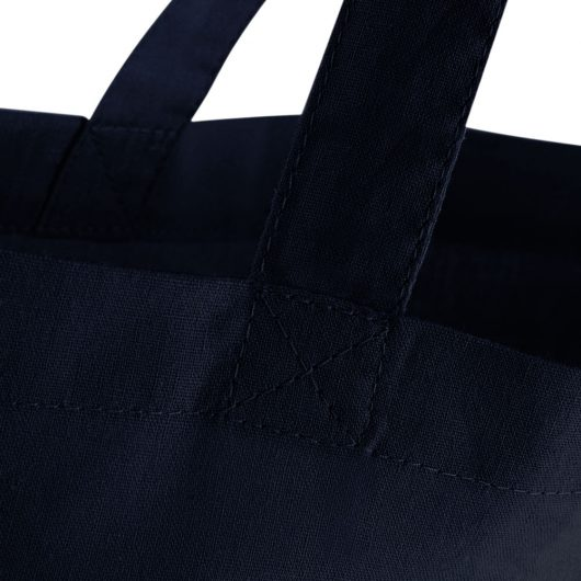 Eko taška s potlačou Čičmany tmavo modrá detail prešitia tašky