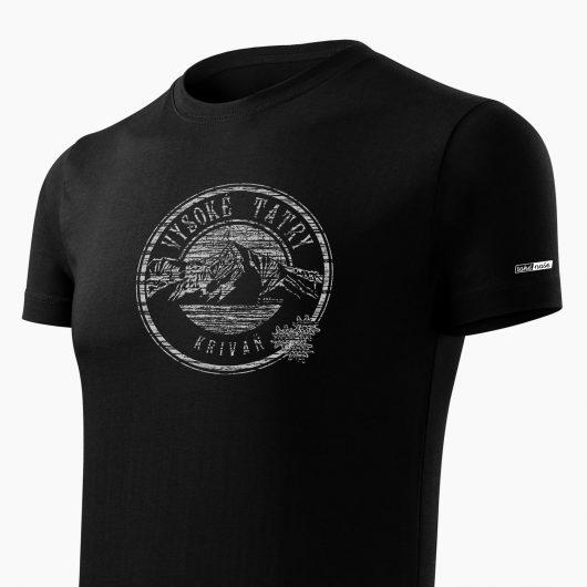 Pánske tričko Vysoké Tatry - Kriváň čierne detail - Také naše
