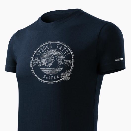 Pánske tričko Vysoké Tatry - Kriváň tmavo modré detail - Také naše