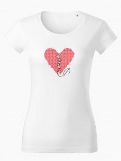 Dámske tričko Zošité srdce biele - Také naše