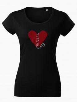 Dámske tričko Zošité srdce čierne - Také naše
