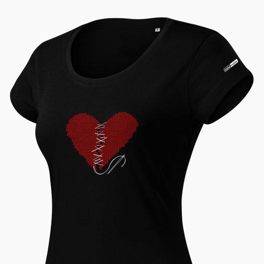 Dámske tričko Zošité srdce čierne detail - Také naše